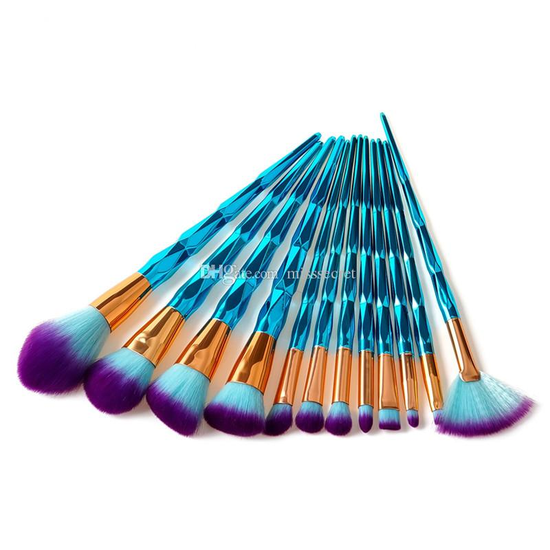 12 teile / satz Blau Diamant Spirale Griff Make-Up Pinsel Gesicht Power Foundation Rouge Lidschatten Make-Up Pinsel Set Mehrzweck bilden Pinsel Kit
