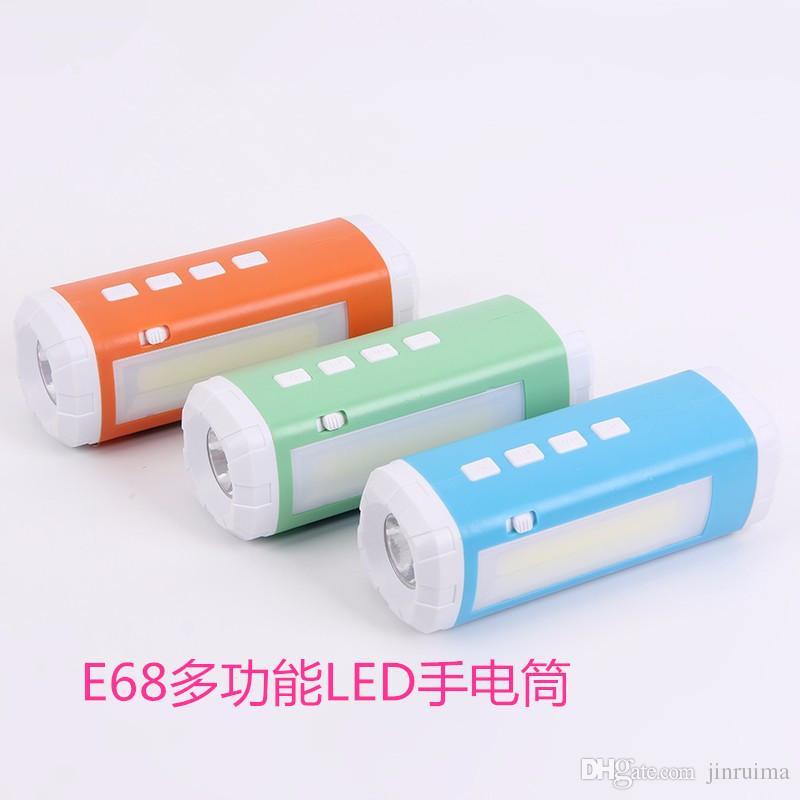 100 adet --- Açık güneş Bluetooth hoparlör kartı E68 çok fonksiyonlu LED el feneri yan aydınlatma