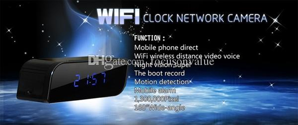 Mini IP Camera P2P Network WiFi Orologio DVR HD 720P con visione notturna Movimento Rilevamento grandangolare Vista grandangolare 160 gradi mini DV nero