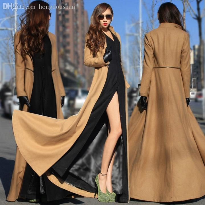 2018 Wholesale European Style Goddess Clothes Winter Outwear Woolen Coat  Women Floor Length Trench Coat For Women Manteau Femme Patchwork From  Hongdoushan, ...