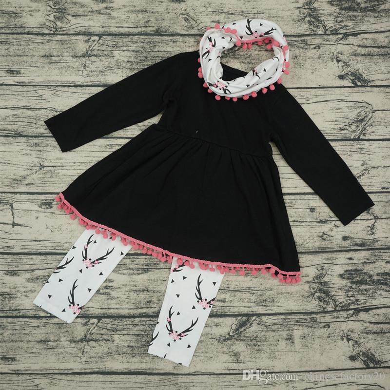 Meninas do bebê Conjuntos de Roupas de Natal Veados Manga Longa Borla Vestido Tops + Calças Impressas + Lenço de pescoço Conjuntos Dos Desenhos Animados Flor De Ameixa Outfits