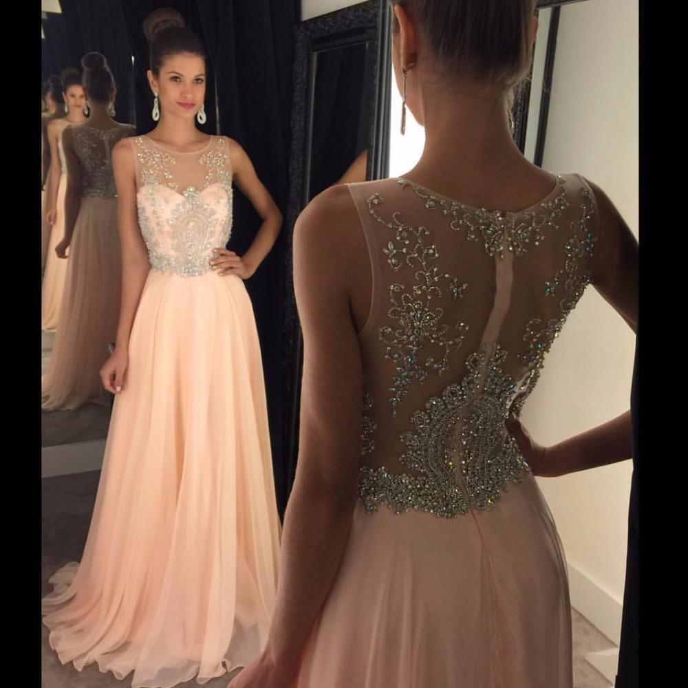 2020 Vestidos Wear Bling Jewel Neck Cristal Beading Chiffon Peach Sheer Voltar Floor Duração Longo formal do partido baratos Prom Dress Vestidos