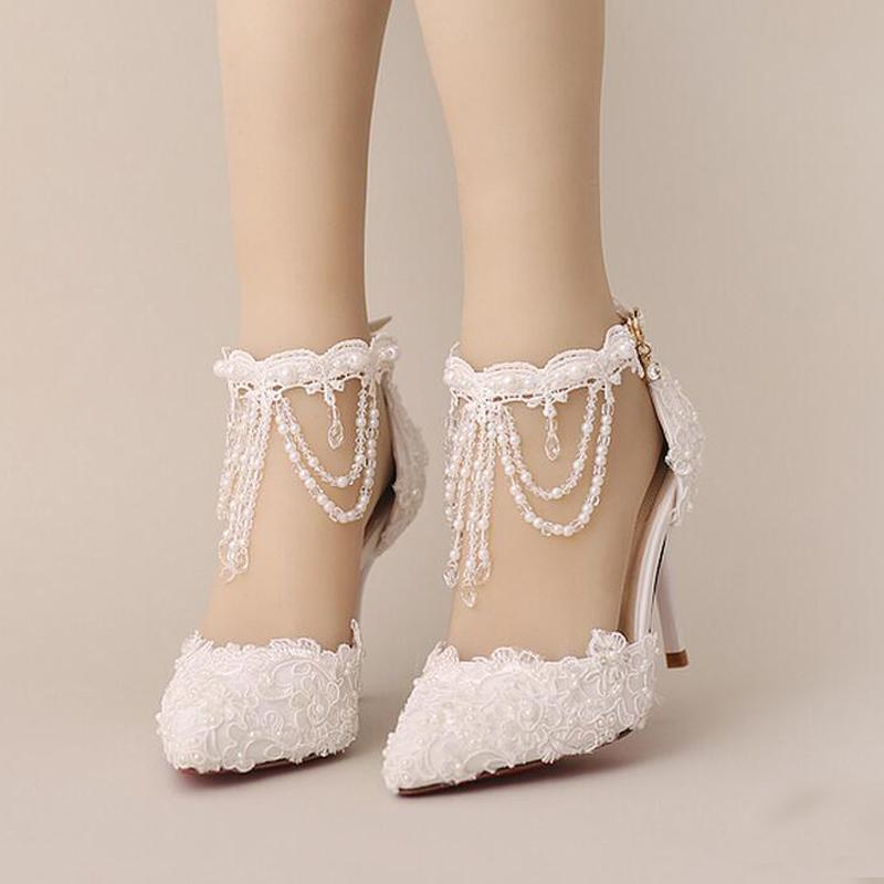 b1d8e971b89 New Summer White Pearl Crystal Lace Bridal Shoes Beautiful Ankle Strap  Wedding Shoes White And Red Color Pointed Toe Prom Shoes Bridal Shoes High  Heel ...
