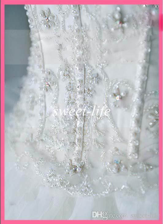 Lxxury Crystals 웨딩 드레스 Seweetheart 비즈 섹시한 빈티지 코르셋 Organza 성당 기차 플러스 사이즈 신부 공 가운