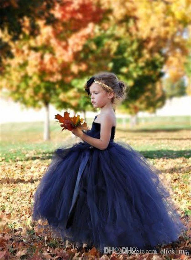 Kraliyet Mavi Çiçek Kız Elbiseler Için Toddlers Tek Omuz Tül Bir Çizgi Cupcake Pageant Törenlerinde Düğün Boncuk Geri Lace Up Communion Elbise