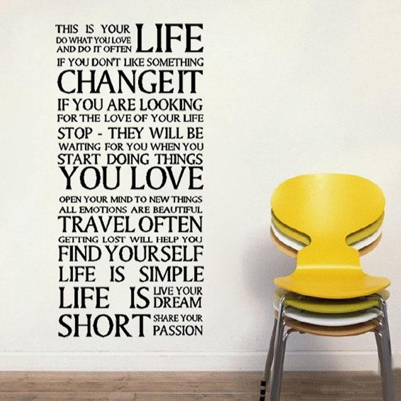 This Is Your Life Quotes Wall Decals Text Vinyl Diy Home Decoration Waterproof Wall Stickers For Living Room Word Wall Art Word Wall Decals From Bigagung ...  sc 1 st  DHgate.com & This Is Your Life Quotes Wall Decals Text Vinyl Diy Home Decoration ...