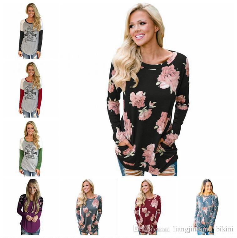 17432100c6e19 Women Tops Christmas Shirts Flower T Shirt Print Blouse Slim Casual Fashion  Leisure Long Sleeve Tees Loose Tank 53 Styles OOA3717 Funny T Shirts For  Sale ...