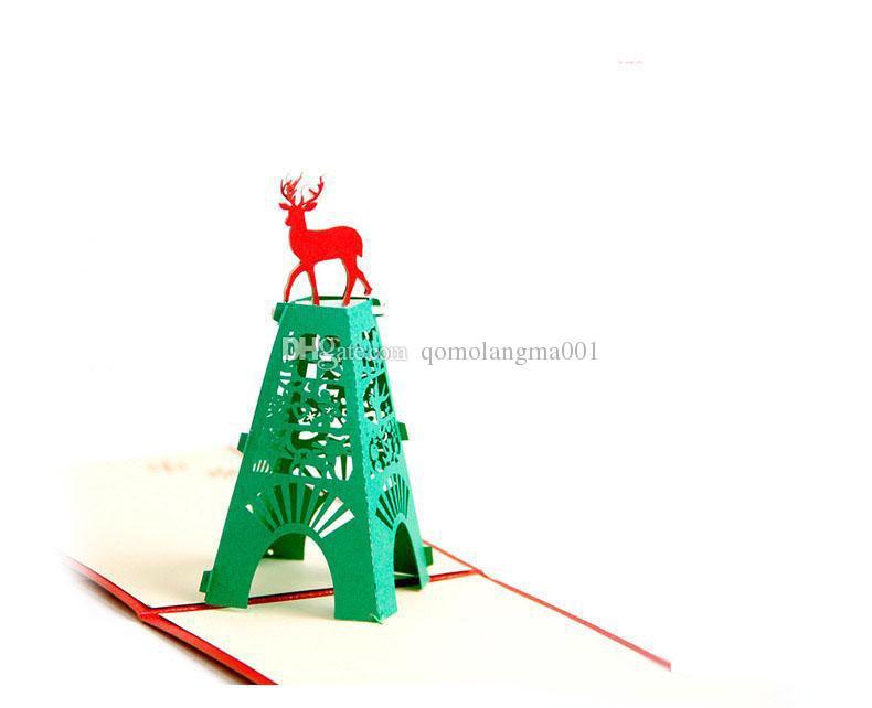 Envío Gratis Nueva Navidad 3D Pop Up Tarjetas de Navidad Ciervo Kirigami Hecho A Mano Origami Tarjetas de Felicitación caliente