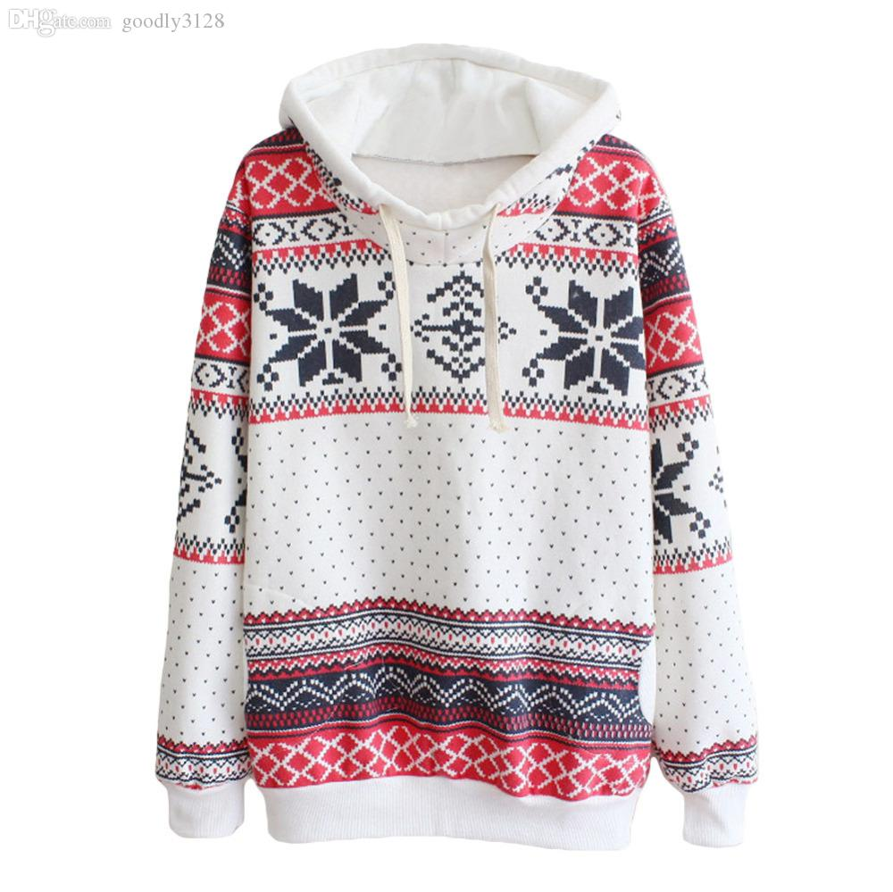 202a6a59e004 2019 Wholesale New Jumpers Womens Fashion Women Snowflake Print Long Sleeve  Pullover Knitted Sweater Female Christmas Sweaters From Goodly3128