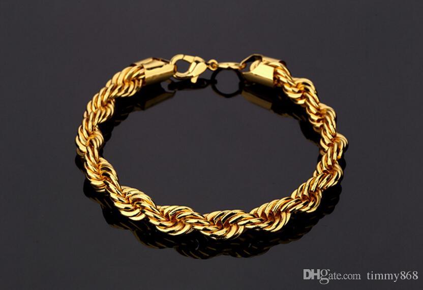 Hip Hop Golden Necklace & Bracelet Twist Rope Chain Fashion Cheap Price For Promotio