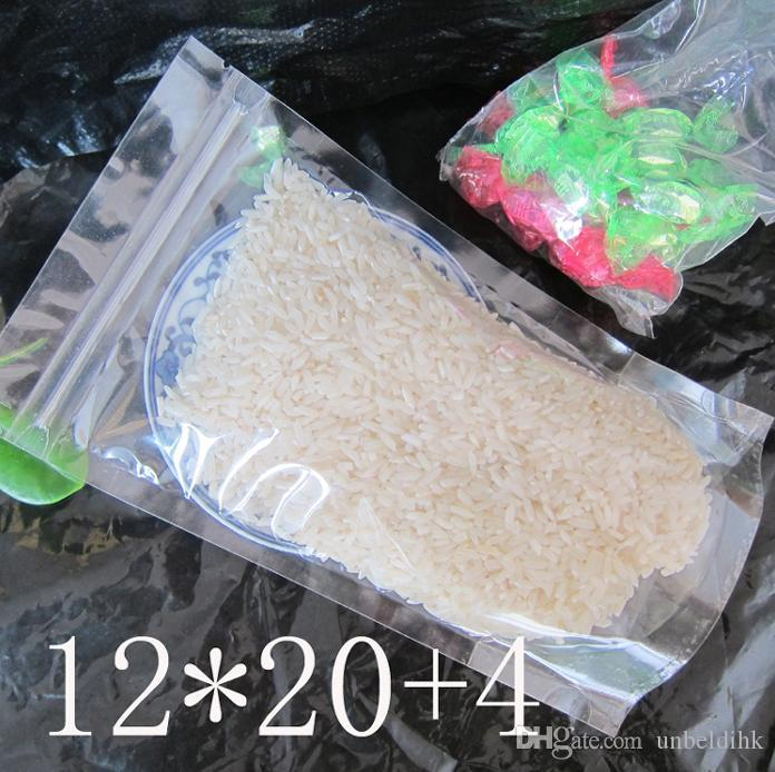 12*20+4cm Clear Plastic zip lock packing Transparent PE packaging Dried fruits tea Grain bags stand up Snacks food Beverage pouch