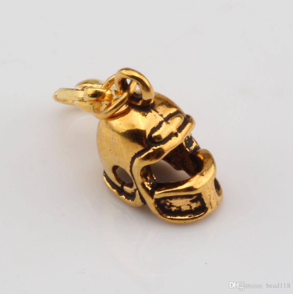 Sıcak ! 100 adet Antik Altın 3D Küçük Futbol Kask Takılar ıstakoz toka Fit Charm Bilezik DIY Takı 12x27mm