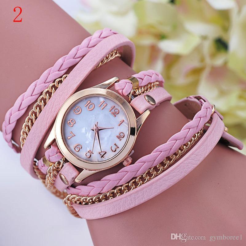 Women watches dress Fashion Vintage Colorful Multilayer Faux Leather Strap Band Wrap Women Bracelet Quartz Wrist Watch Female clock