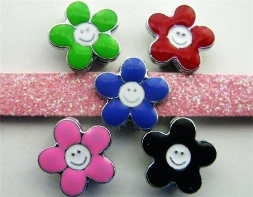 8mm mutil color flower slide charms DIY accessory fit to wristband,pet collar&phone chain