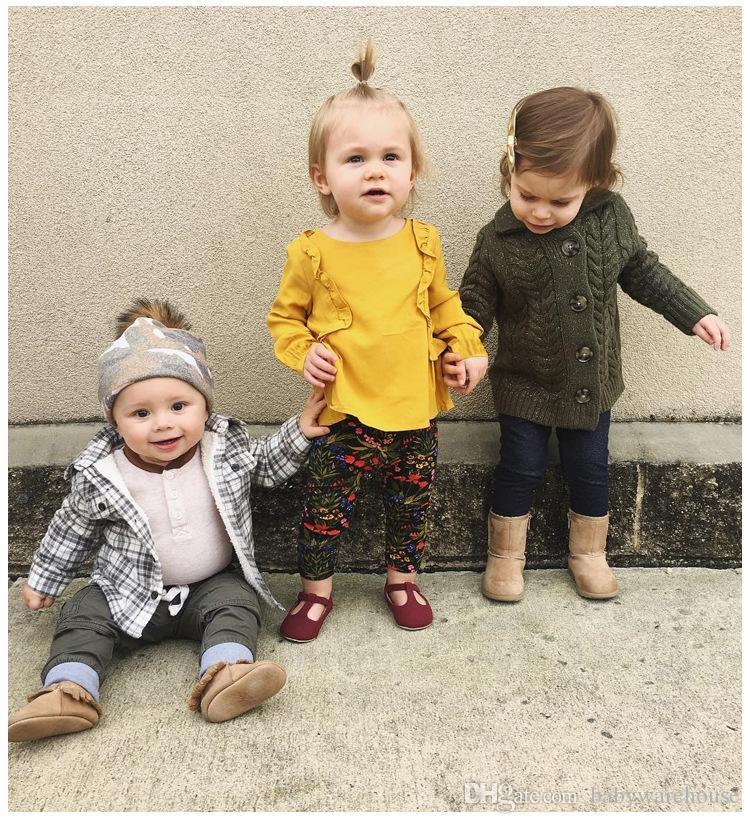 Новорожденных девочек одежда Футболки 2018 весна осень рябить с длинным рукавом блузки тройники малышей девушки топы твердые милый ребенок Детская одежда наряды