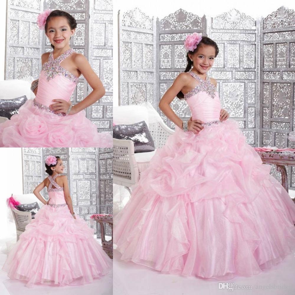 Compre Hot Ventas Baby Pink Flor Vestidos De Las Niñas Para Las ...