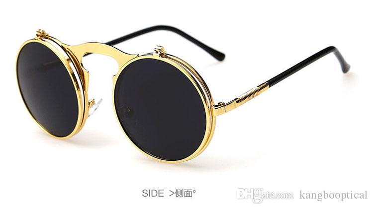 wholesale New Vintage Round Flip Up Designer Steampunk Sunglasses Metal OculosWomen Coating Men Retro Circle Sun Glasses