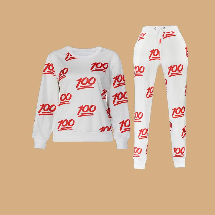 New 100 emoji joggers pants +sweatshirt sets white/black for women/girl sweatpant trousers cartoon outfit clothes