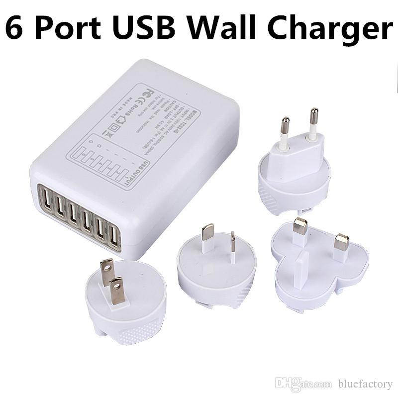For IPhone 6s Universal 6 Port USB Wall Charger US EU UK AU Plug AC Power  Wall Adapter For Iphone 5s Samsung S6 Ipad HTCPower Bank 5600mah Powerbanks  From ... 1ad810058