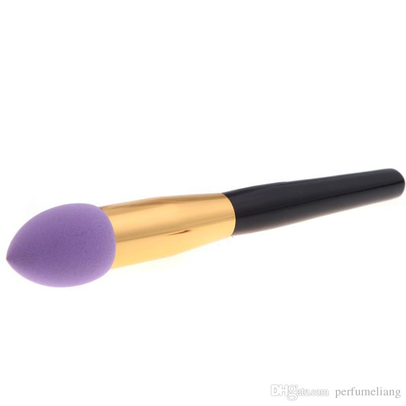 Neue Mode Synthetische Haar Aluminium Holz Kosmetische Make-upbürsten Set Flüssigcreme Foundation Schwamm Make Up Pinsel 4 Farben