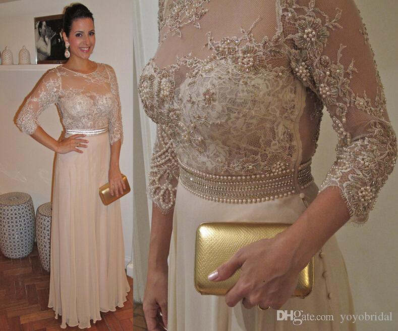 2016 Stunning Lace Pearls Mother Of The Bride Dresses