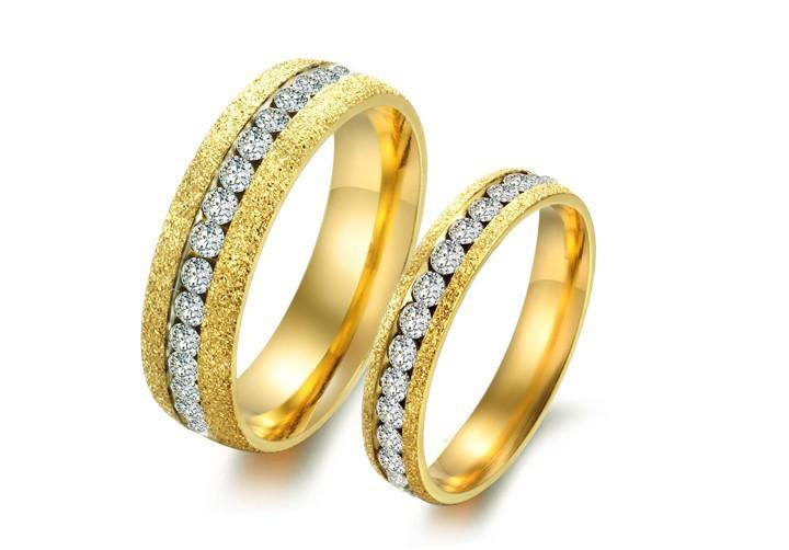 2018 Stainless Steel Rings Gold Crystal Drill Simple Couple Rings