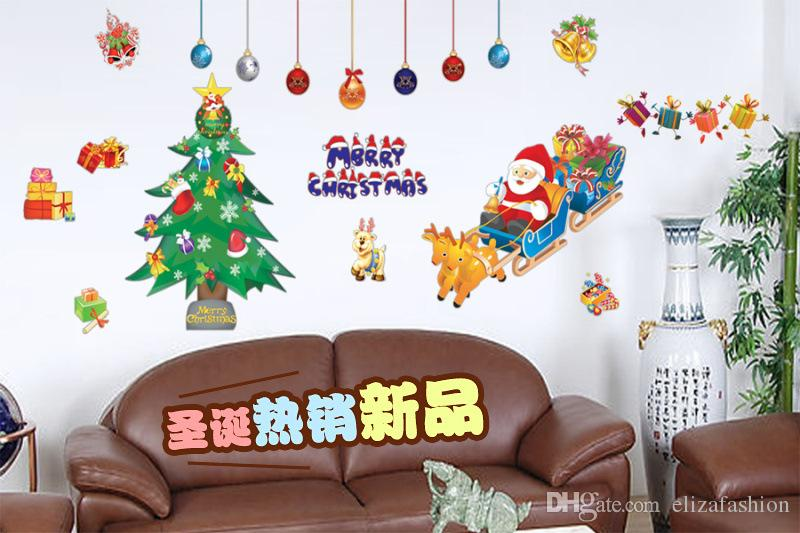 Showcase Sticker Xmas Wall Sticker Waterproof Removable Wallpaper - Christmas wall decals removable