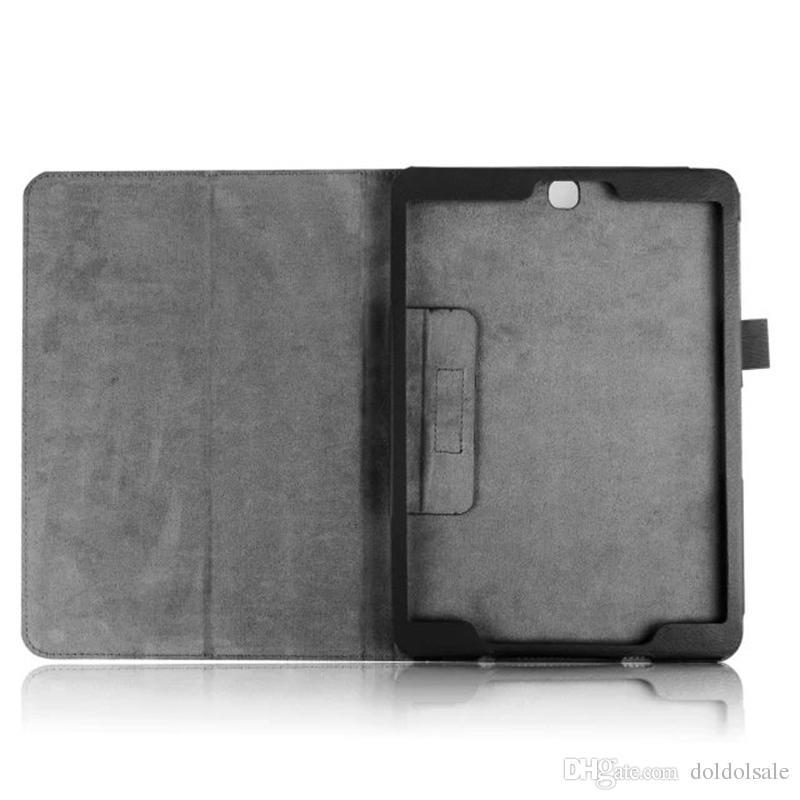 deux couverture en cuir PU pliable pour Samsung Galaxy Tab S2 8.0 T710 SM-T715 T715 Tab S2 9.7 T810 T815 SM-T815 Etui Tablette Litchi Folio