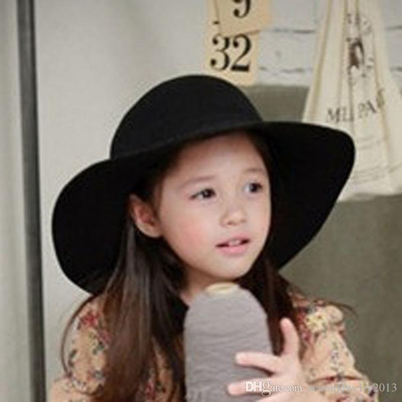 AAA+ Quality Cute Children Girl Wool Felt Hats Kids Wide Brim Caps Casual  Black Summer Beach Sun Hats Wholesale EKO4 UK 2019 From Seaonjewelry2013 ed6c8a6a064