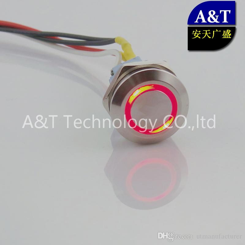 22mm Three color RGB LED Momentary ON OFF Push Button 12V 24V 220V Red Blue Green illuminated Metal Stainless Steel Switch