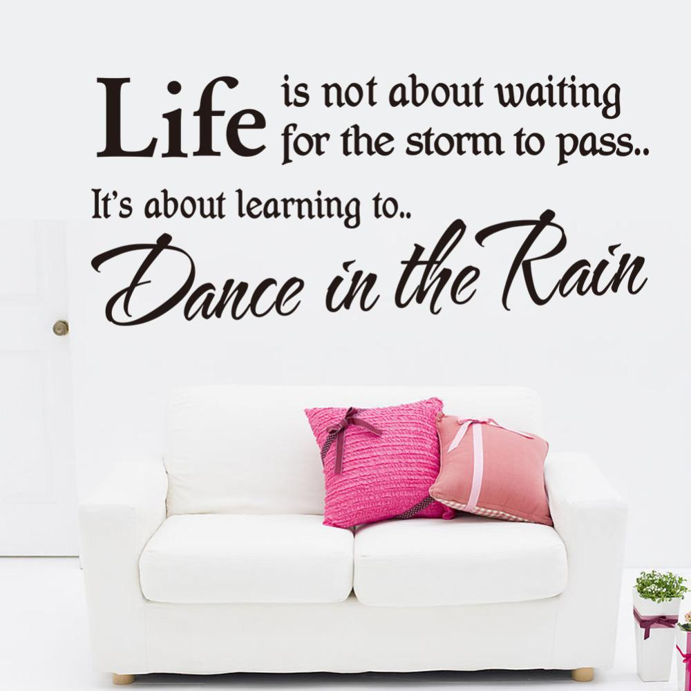 life is about learning dance in the rain inspirational wall art