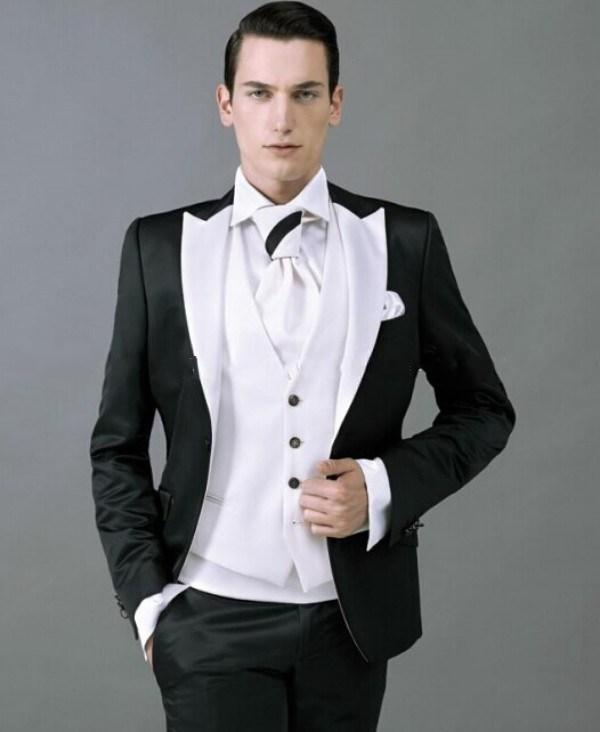 Brand New White Peak Lapel Black Groom Tuxedos Men\'s Wedding ...