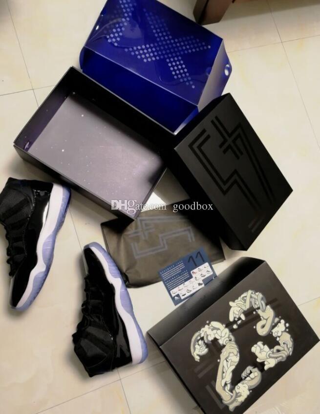 Atacado ganhar como 96 gelo azul espaço jam 11 UNC 11 s midnight azul marinho ginásio vermelho com caixa de sapatos de basquete frete grátis