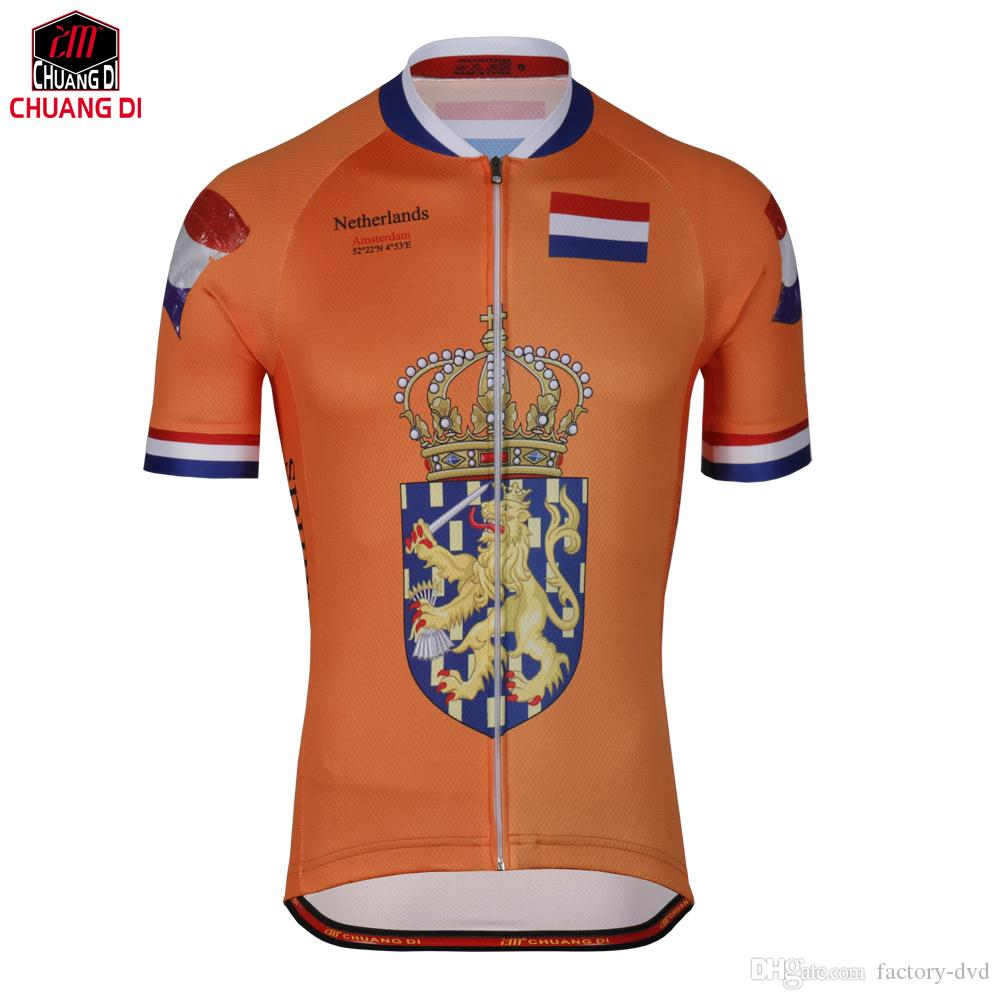 4cc2d9fc8 Mens Cycling Jersey Netherlands New Orange Bicycle Riding Pro Racing Team Cycling  Clothing Jersey Custom Bicycle Jersey Custom Women T Shirts Long Sleeve ...
