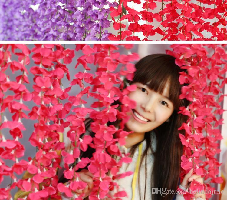 Wholesale人工絹の花ヴィインヴィステリア籐のバレンタインデーのホームガーデンホテルのウェディングパーティーの装飾ウェディングアーチサプライヤー