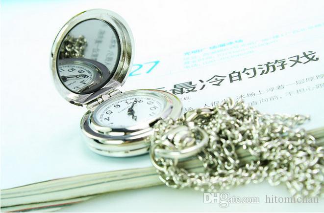 Cat Doraemon анимационный мультфильм эмаль белая сталь дети кулон взять зеркало кварц ожерелье цепь карманные часы