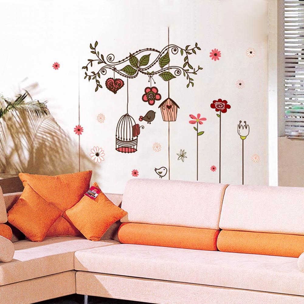 Diy جميلة غرفة صائق الحائط ملصقا الزهور الكرتون الطيور قفص كرمة ملصقات خلفيات الفن ديكور جدارية الشارات ملصق ، الهندباء