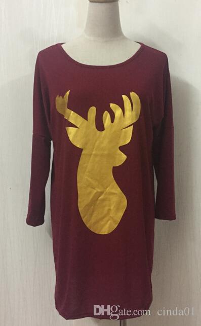 Frauen Weihnachten Lose Lange Beiläufige Tops Herbst Frühling Langärmelige Deer Printed Tees Fashion Kleidung