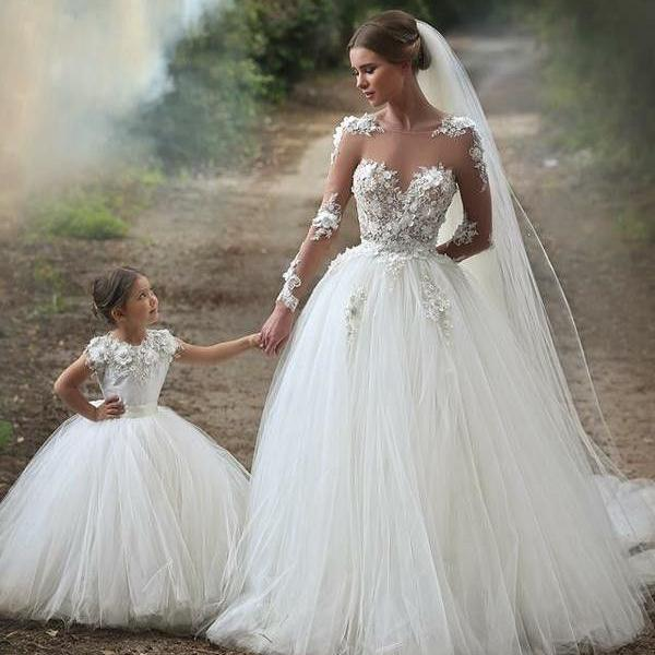 White Flower Girl Wedding Dresses Flower Appliques Communication ...