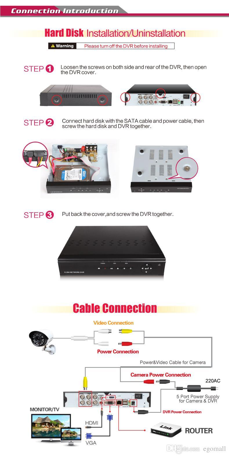 Aktualisieren Sie Home Security System H.264 4CH 960H Netzwerk DVR mit 700TVL Farbe wasserdichte Kameras, 500G HDD CCTV-System H203
