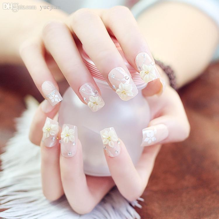 Wholesale 24 Style 3D Long Short Fake Nails With Glue Pearl Inlaid Diamond Super Flash Bow Nail Art White False Bride Glass Beads Feather