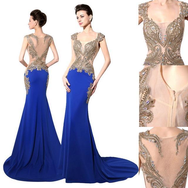 Luxury Royal Blue Evening Dresses Cap Sleeves Crystal Beading Sexy ...