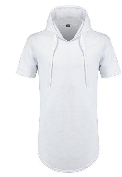 Man Justin Bieber Summer Tshirts Longline Curve Hem t shirt Hooded Zipper Design Short Sleeved Casual Tops for Male