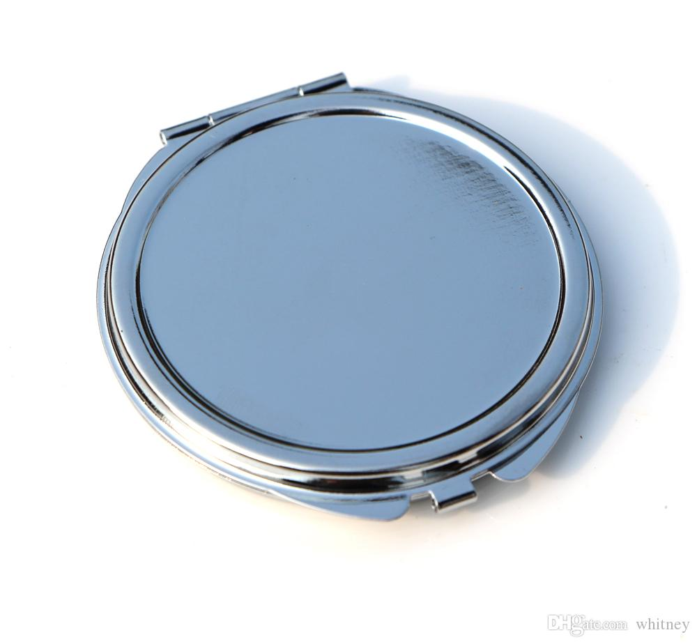 Espejo compacto delgado 62mm de plata en relieve en relieve en relleno en blanco pequeño espejo de bolsillo para DIY Decoden 18032-1