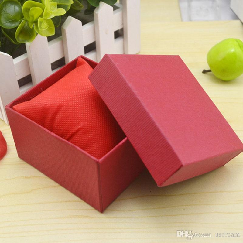Fashion Watch boxes black red paper square watch case with pillow jewelry display box storage box 230115