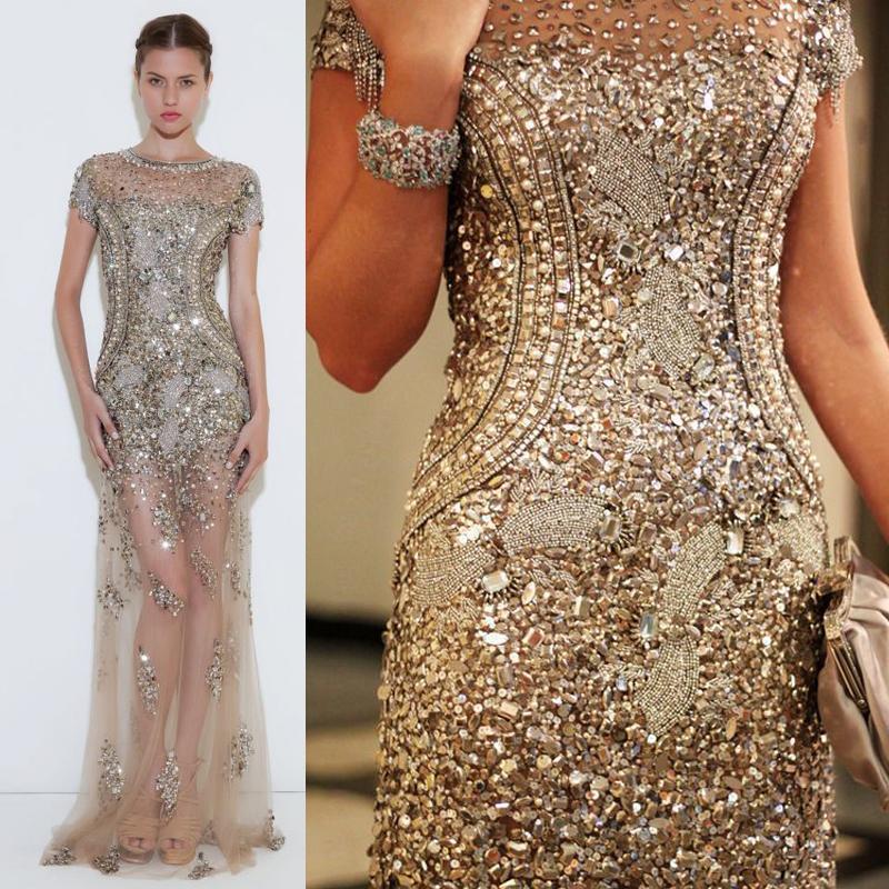 Patricia Bonaldi Haute Couture Elegante Sheer Tull Over Beaded Jewel Neckline Short Sleeves