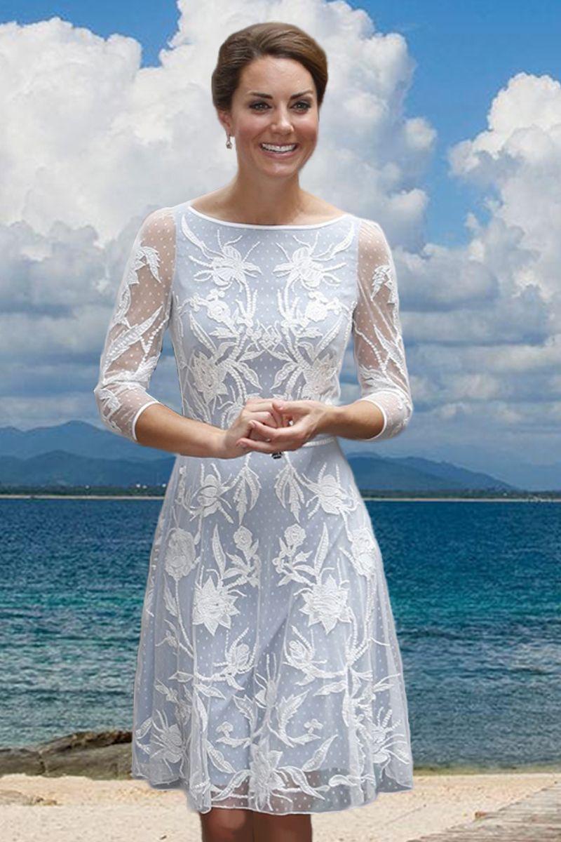 Lace Embroidery Princess Dress Luxury Kate Middleton Dresses Wf007 ...