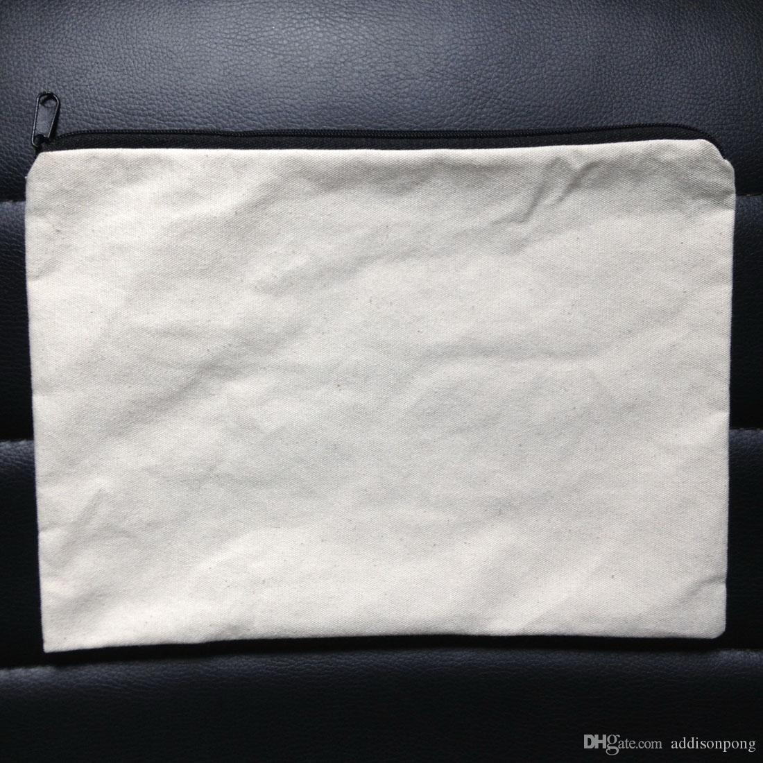 60 pz / lotto pianura naturale avorio / colore nero borsa di tela di cotone puro colore con cerniera nera unisex casual portafoglio in cotone bianco sacchetto