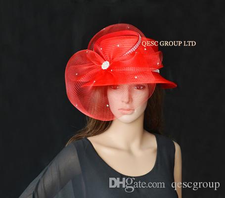 KIRMIZI TÜM YIL YUVARLAK Saten Şapka elbise şapka kilise şapka Resmi şapka Kentucky Derby Şapka.