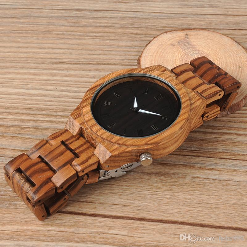 BOBO VOGEL neue High-End-Männer Uhren Zebra Holz Uhren alle Holz Mode Quarzuhren Herren Geschenke akzeptieren OEM benutzerdefinierte Relogio